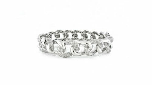 White Gold Fancy-Link Diamond Bangle