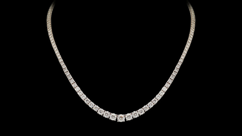 classic claw-set tennis necklace | Diamond Tennis Necklace Set in 18 Carat White Gold