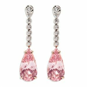 Morganite and Diamond Drop Earrings | Rose Gold Diamond Jewellery