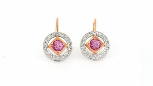 Art-Deco inspired Diamond and Pink Tourmaline Earrings