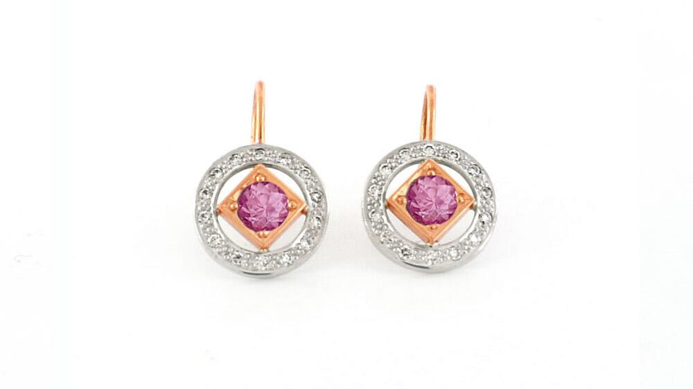 Diamond and Pink Tourmaline Earrings   Two Tone Gold Pink Tourmaline and Diamond Art Deco Style Earrings