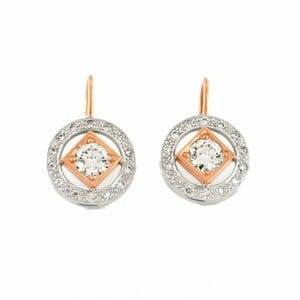 Art-Deco diamond earrings crafted in rose and white gold   Mark Solomon Jewellers
