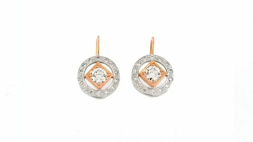 Art-Deco inspired Rose and White Gold Diamond Earrings