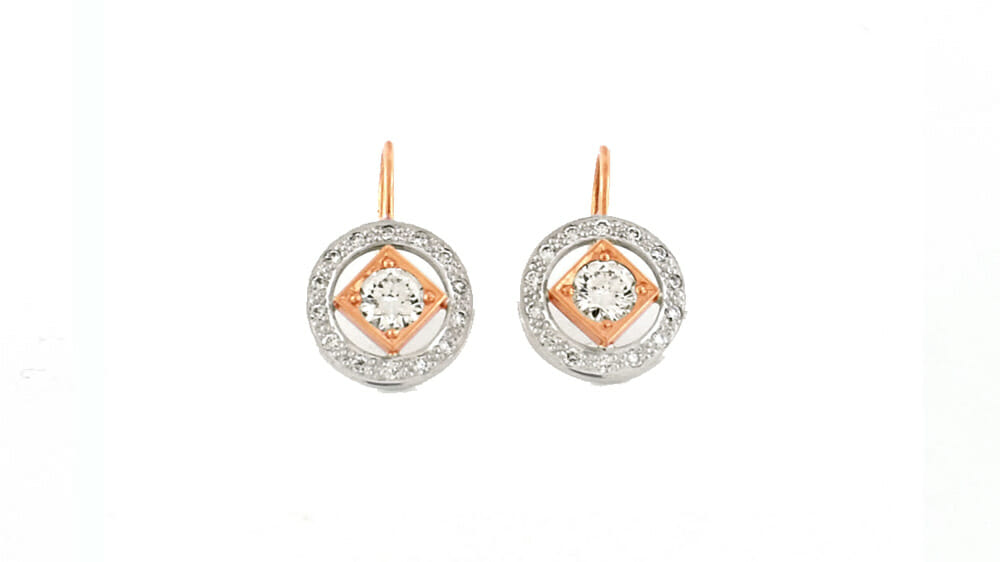Art-Deco diamond earrings crafted in rose and white gold | Mark Solomon Jewellers