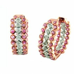 Pink Sapphire and Diamond Hoop Earrings | Rose Gold Diamond Earrings | 14ct Rose Gold Diamond And Pink Sapphire Hoop Earrings