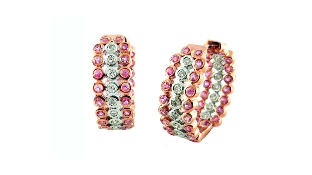 Pink Sapphire and Diamond Hoop Earrings | Rose Gold Diamond Earrings | 14ct Rose Gold Diamond And Pink Sapphire Hoop Earrings