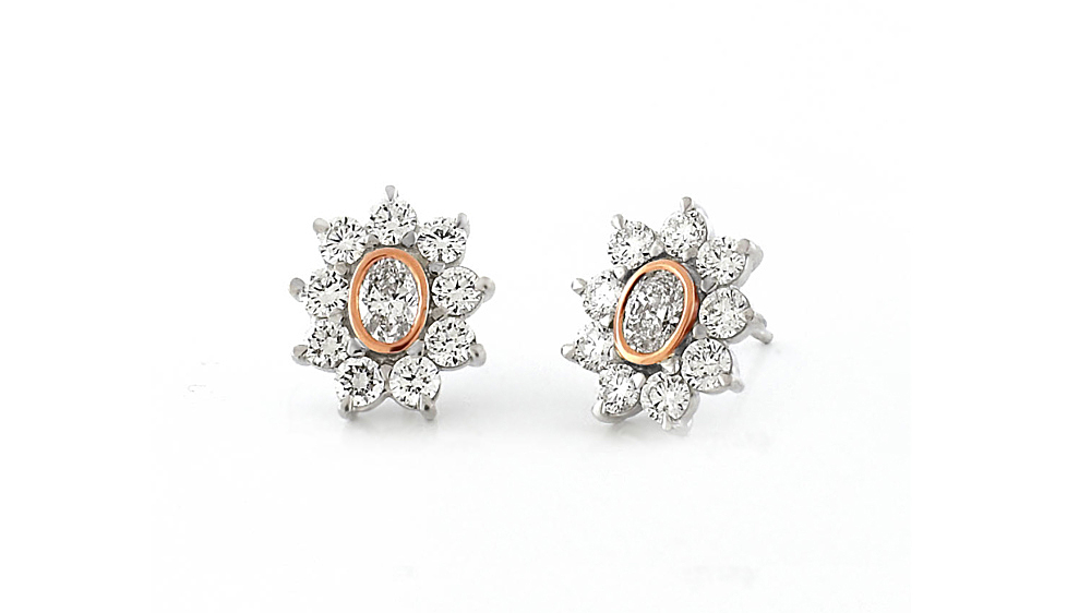 Rose and White Gold Oval Diamond Cluster Earrings