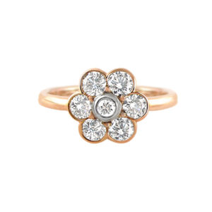 Rose gold diamond daisy ring | A vintage inspired rose and white gold flower ring