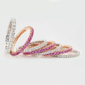 pink sapphire and diamond bands | Diamond wedding bands | Diamond Eternity Rings | Pink Sapphire Rings