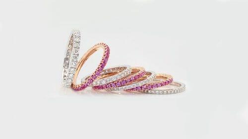 pink sapphire and diamond bands | Diamond wedding bands | Diamond Eternity Rings | Pink Sapphire Rings