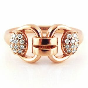 Fancy-Link Ring | Rose Gold Diamond Dress Ring