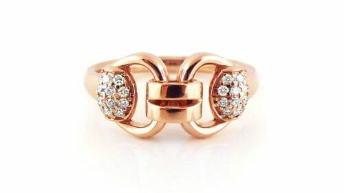 Fancy-Link Ring | Rose Gold Diamond Dress Ring