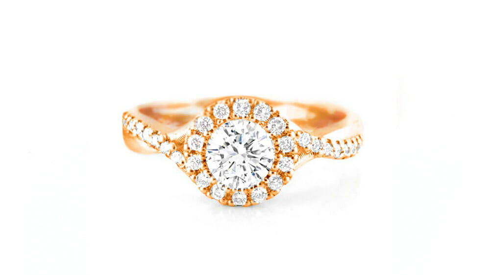 Rose Gold and Diamond Entwined Halo Ring