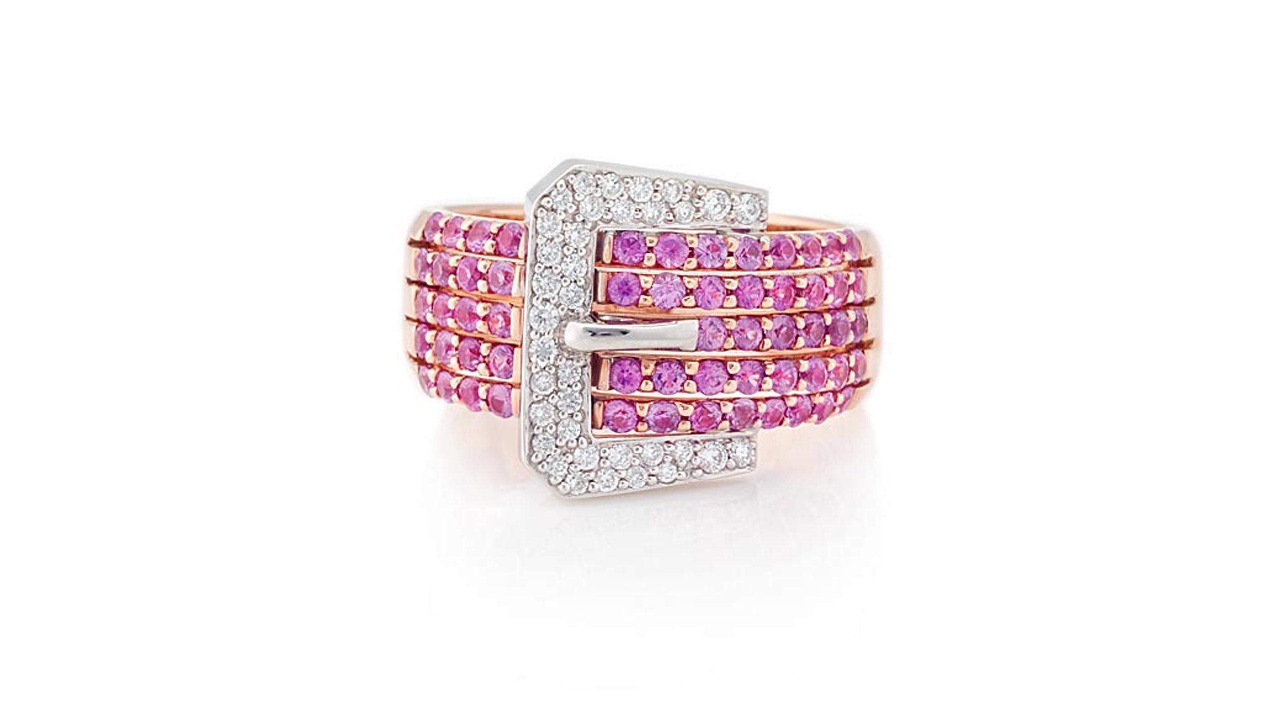 Pink Sapphire & Diamond Belt Ring