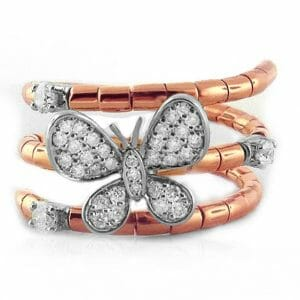 Butterfly Inspired Rose Gold and Diamond Ring