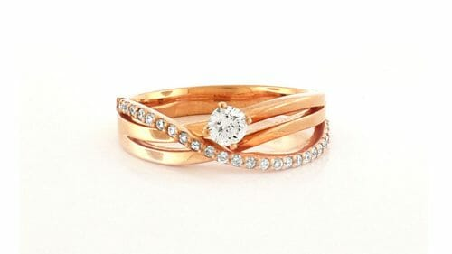 rose gold diamond crossover ring | 18ct Rose Gold Diamond Ring