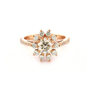 rose gold star halo ring | An 18 carat rose gold diamond star halo ring