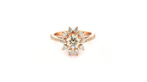rose gold star halo ring | An 18 carat rose gold diamond star halo ring