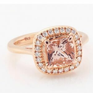 Cushion Morganite & Diamond Halo Ring Set In 18ct Rose Gold