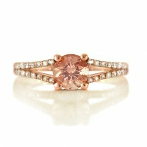 Rose Gold Ring | Morganite and Diamond Split Shank Rose Gold Ring