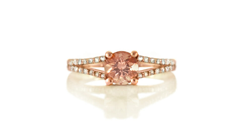 Rose Gold Ring | Morganite & Diamond Split Shank Ring