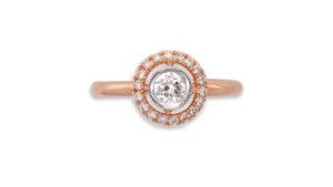 Diamond and Rose Gold Halo Ring | Diamond Rings | An 18ct White and Rose Gold Diamond Halo Ring