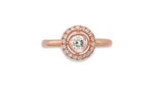 diamond and rose gold halo ring | 18 carat rose gold diamond halo ring