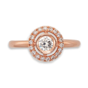 diamond and rose gold halo ring | 18 carat rose gold diamond halo ring