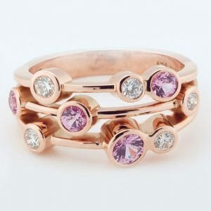 Pink Sapphire & Diamond Bubble Ring | Rose Gold Dress Ring