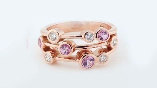 Pink Sapphire & Diamond Bubble Ring | Rose Gold Dress Ring