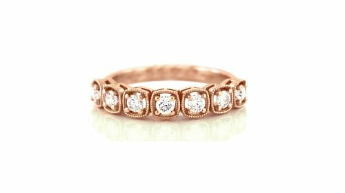 Rose Gold and Diamond Vintage rope-inspired Ring
