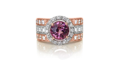 rhodolite and diamond ring | 18 carat rose and white gold ring