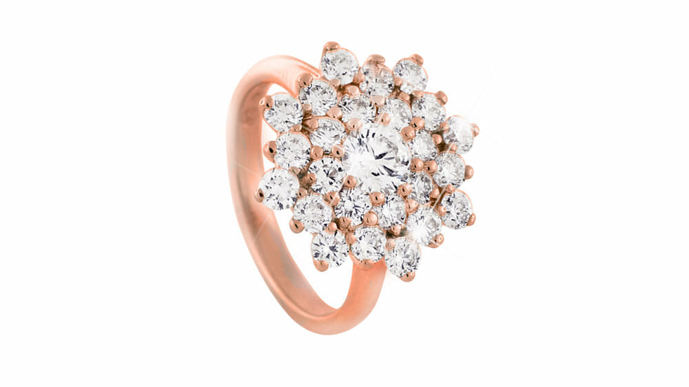 Diamond Cluster Ring | Diamond ring set in rose gold with floral styled double halo of diamonds | For the love of rose gold