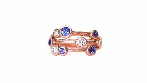 Diamond & Tanzanite Bubble Dress Ring | A Fun Diamond & Tanzanite Bubble Ring Set In 18 Carat Rose Gold