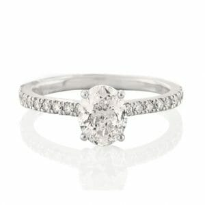 Solitaire Ring | Oval Cut with Micropavé Band