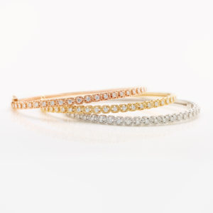 Tri-Colour Vintage-Style Diamond Bangles