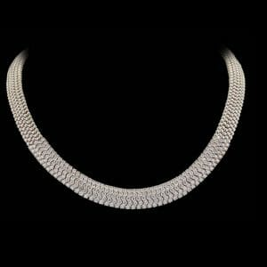 pavé diamond necklace | 18 carat white gold pave diamond collar necklace