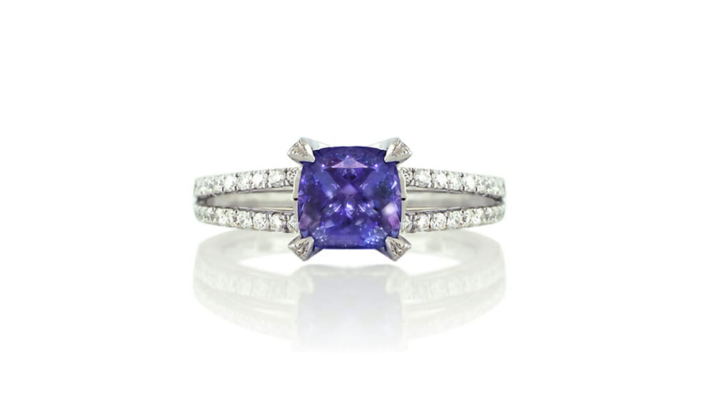 Rare African Cushion Tanzanite and Diamond Halo Ring