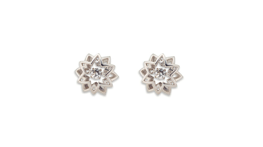 Star stud dancing diamond earrings