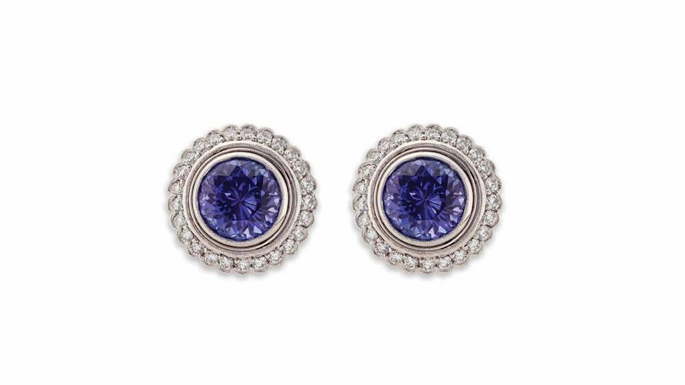 Round Tanzanite & Diamond Halo Earrings | 18 carat white gold