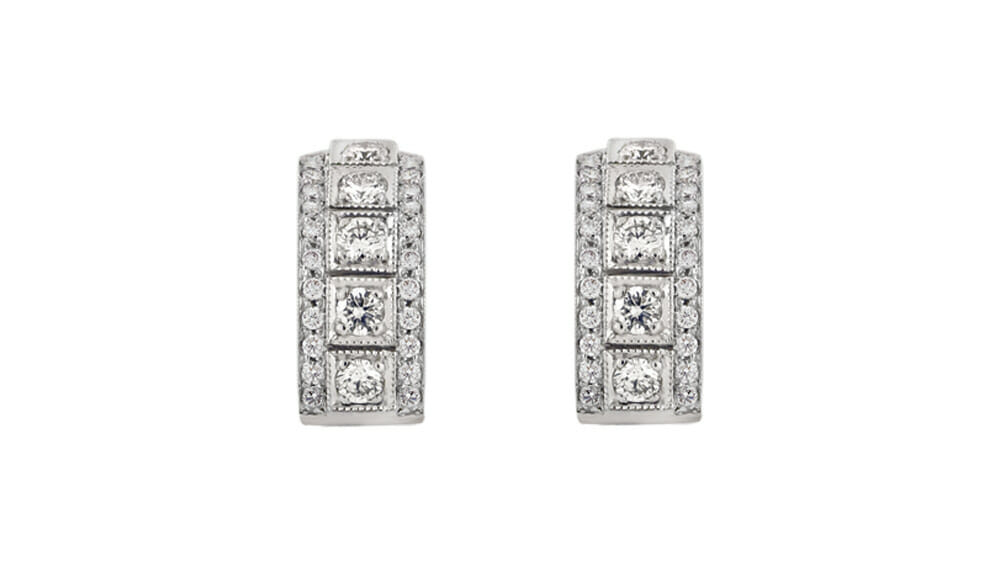 Square set stud diamond earrings