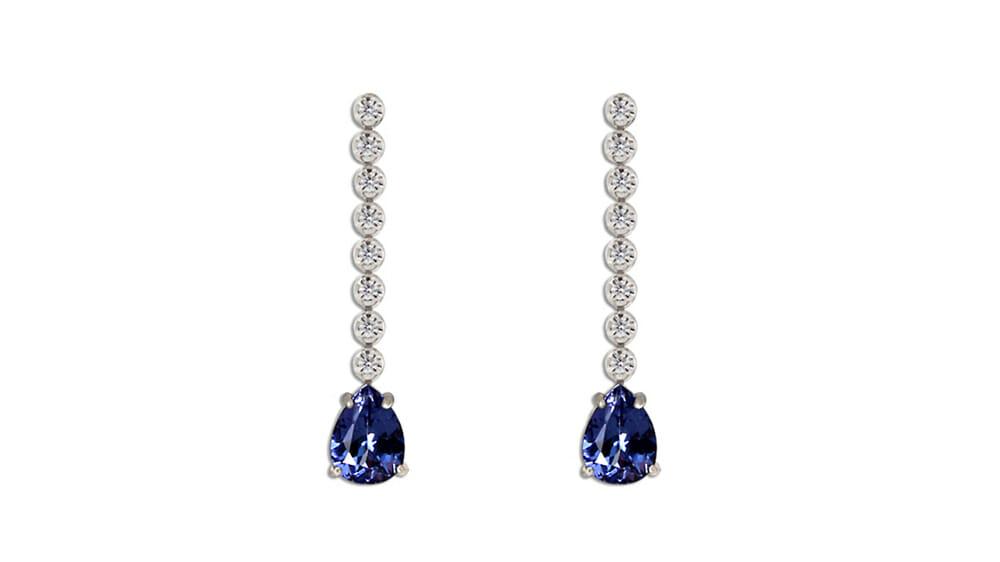 Teardrop Tanzanite & Diamond Drop Earrings