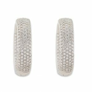 Pave hoop diamond earrings set in 18 carat white gold