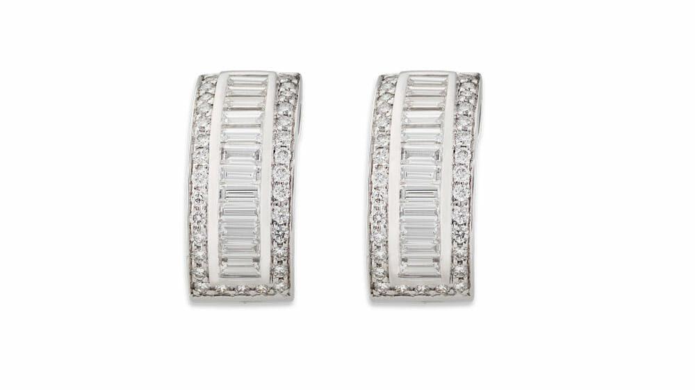Fine white round and baguette diamond earrings
