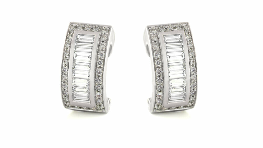 Fine white round and baguette diamond earrings 02