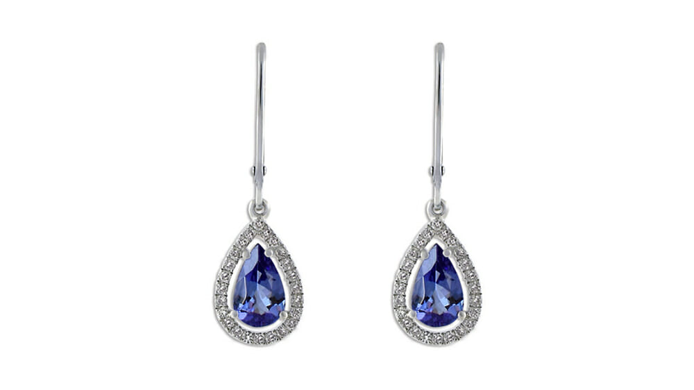 Pear Tanzanite and Diamond Halo Earrings Set In 18 Carat White Gold