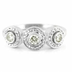 antique-style round diamond trilogy ring