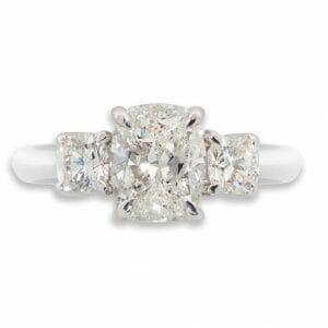 Rectangular Cushion Diamond Trilogy Ring Set In Platinum | Diamond Rings