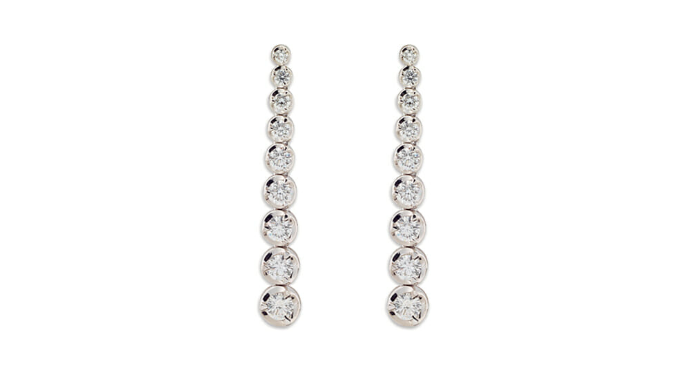Graduated tennis diamond earrings