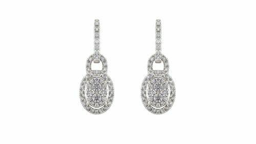 Oval Pavé Drop Earrings